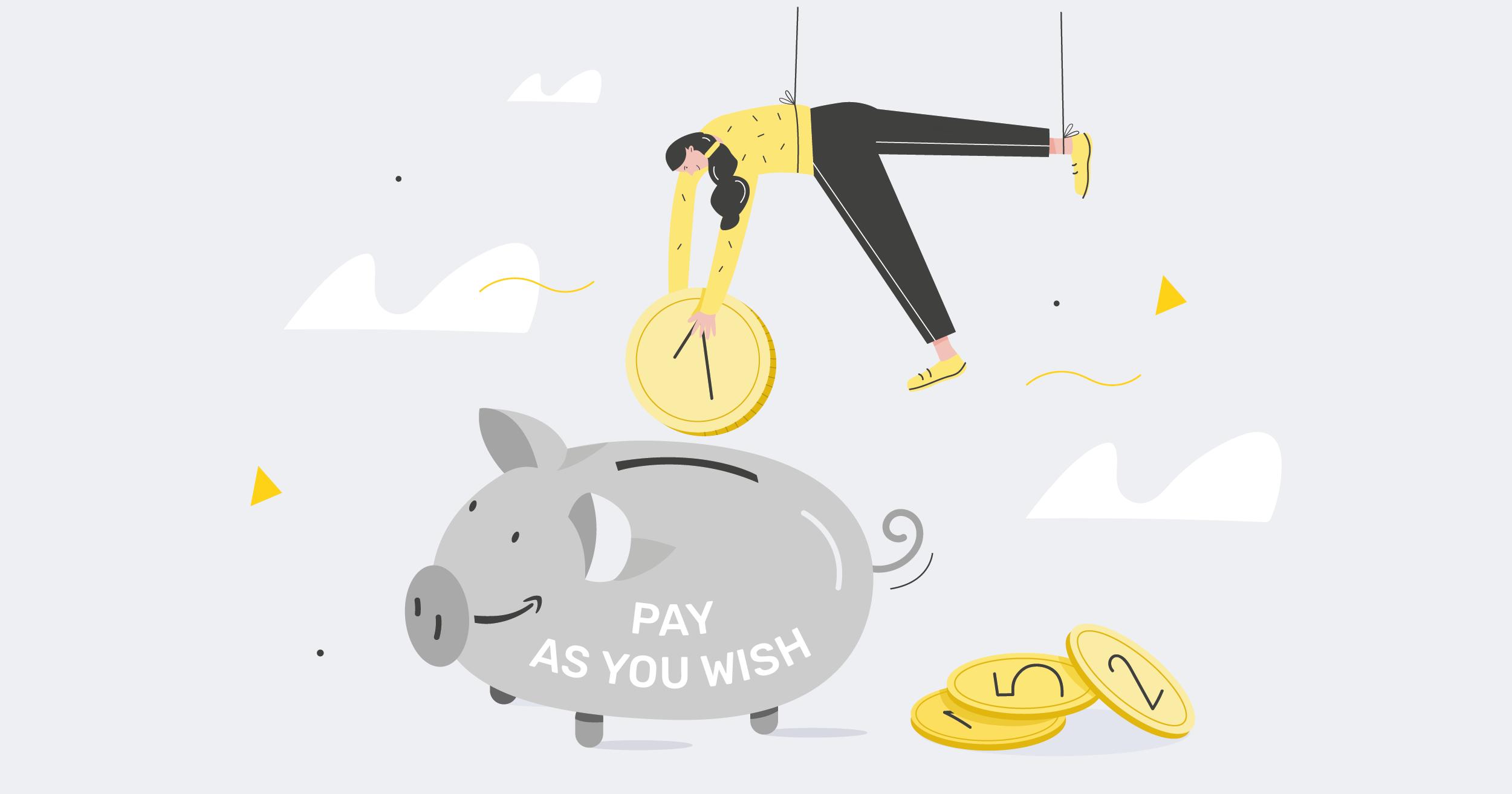 woman putting coin piggy bank AWS elastic beanstalk