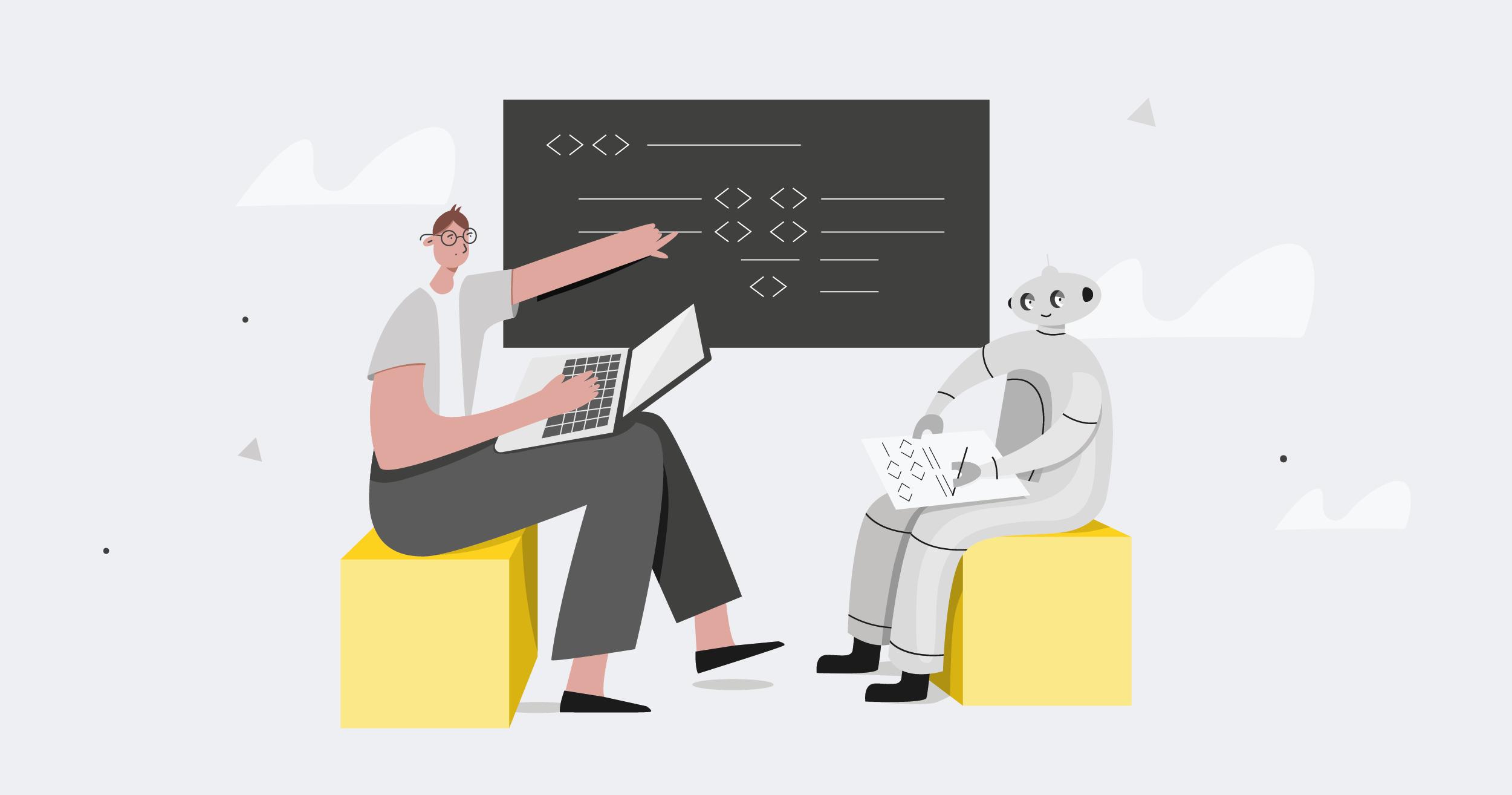 man showing robot information on blackboard