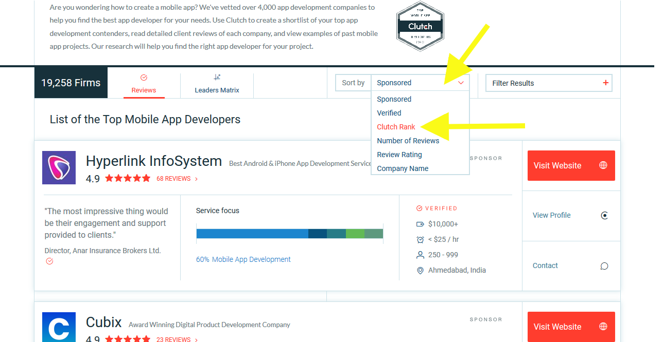 """Sorting Clutch's list by """"Clutch rank"""" will help you see a curated list of product development agencies"""