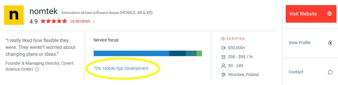 Nomtek's service focus is 70% on mobile app development