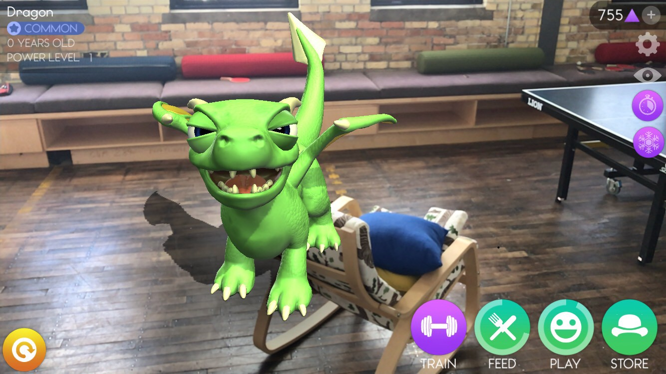 augmented reality dragon in a room
