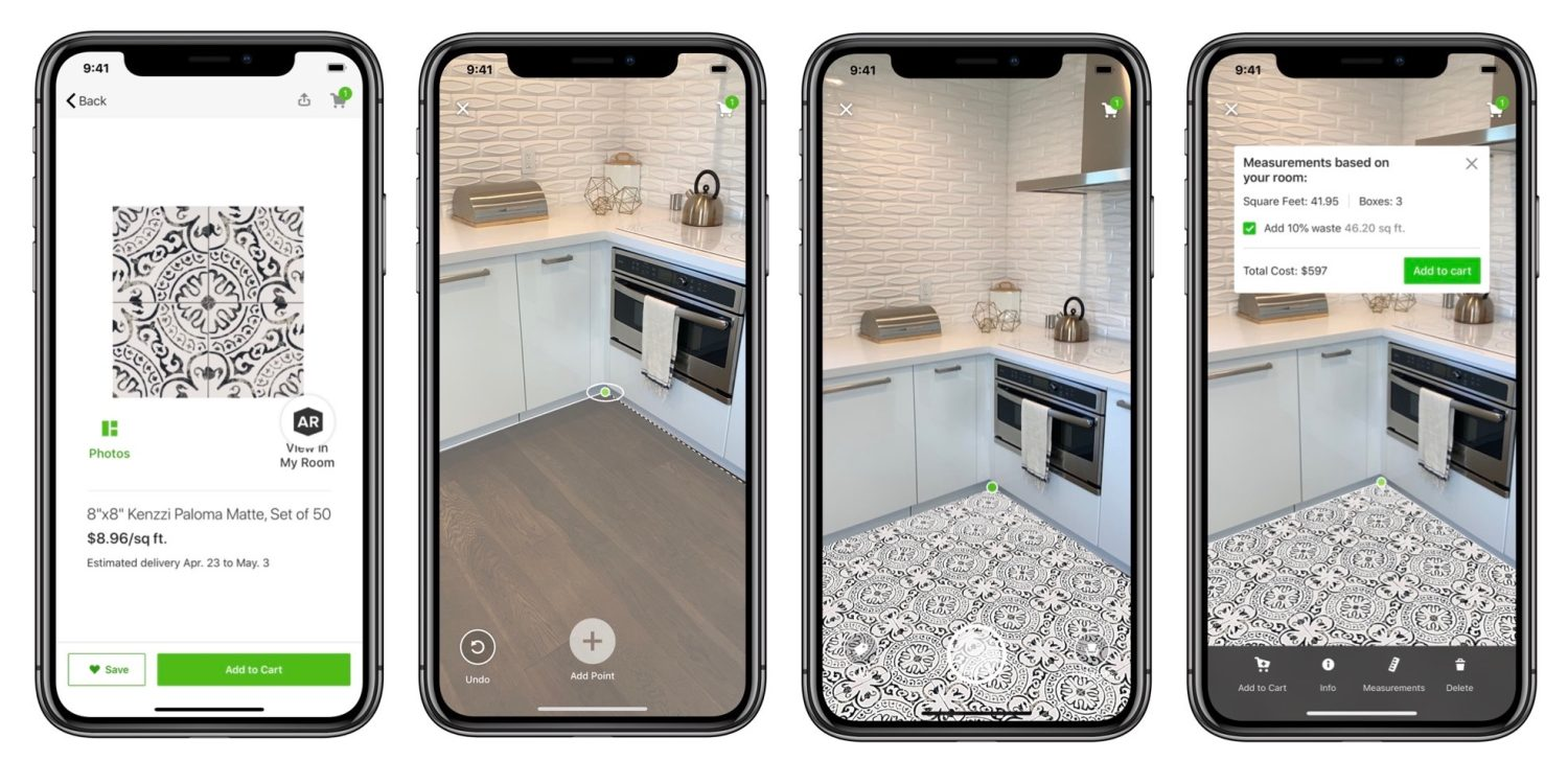 Floor tile selection in augmented reality
