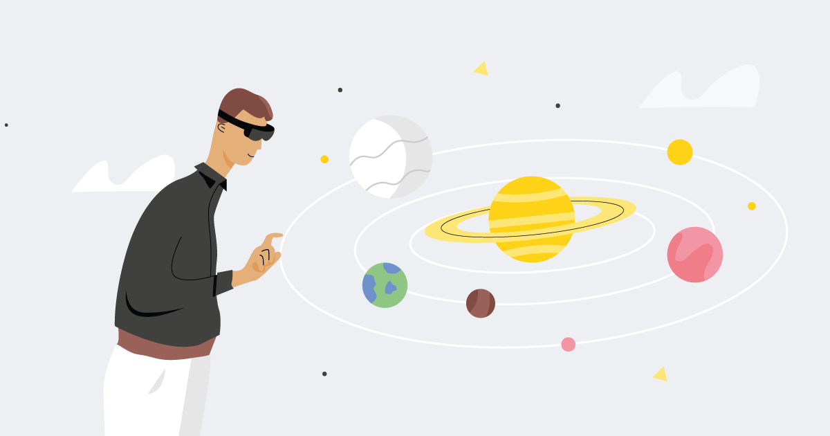 person playing with an augmented reality solar system