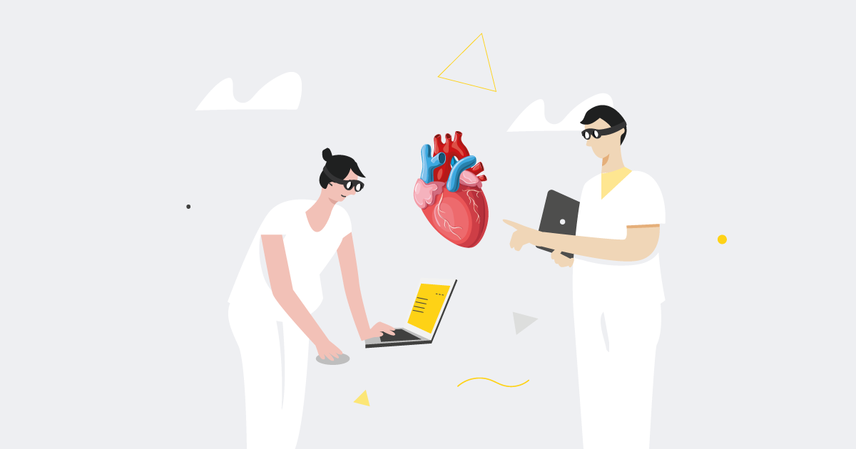 doctors viewing an augmented reality heart