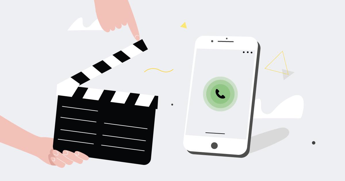 calling phone and film slate illustration