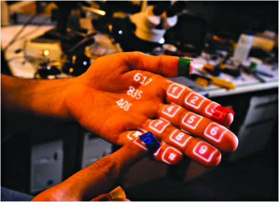 Projection-based augmented reality — a dialer on a palm