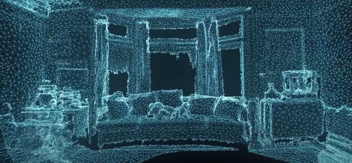 In the Canvas app, LiDAR scans the room with laser beams
