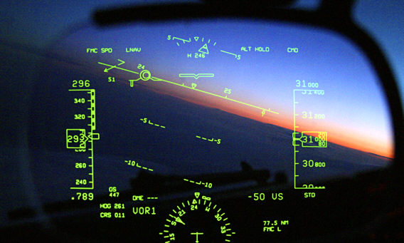 An example of heads-up display (HUD) in aviation