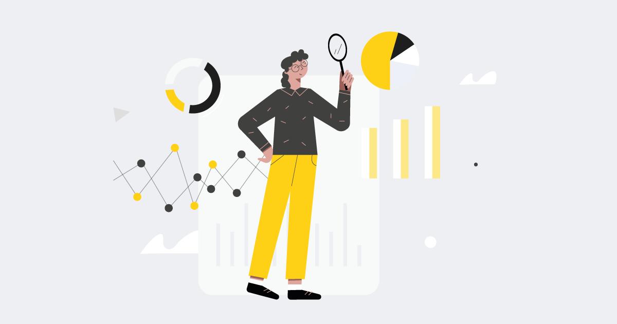 woman analyzing data