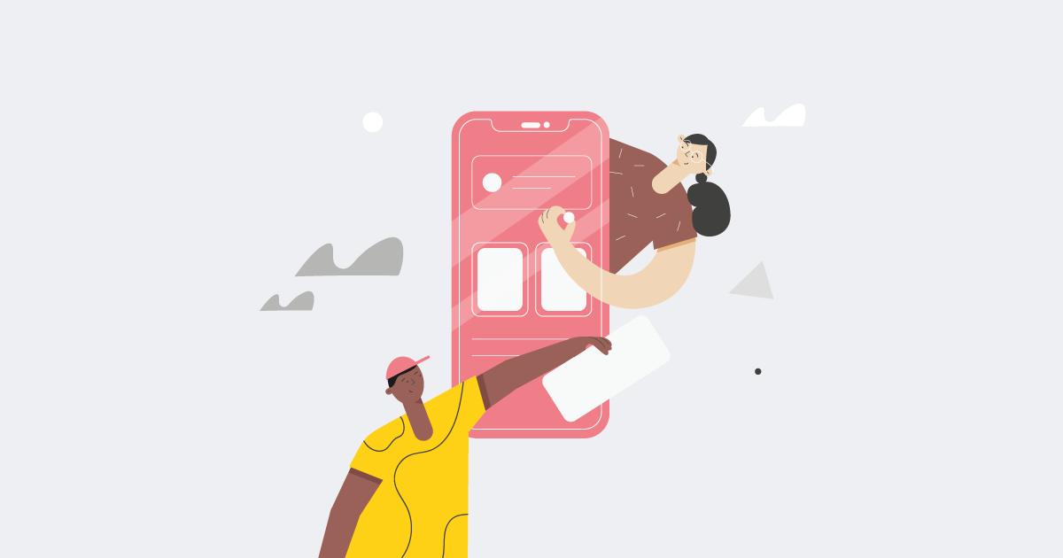 people designing an app interactivity