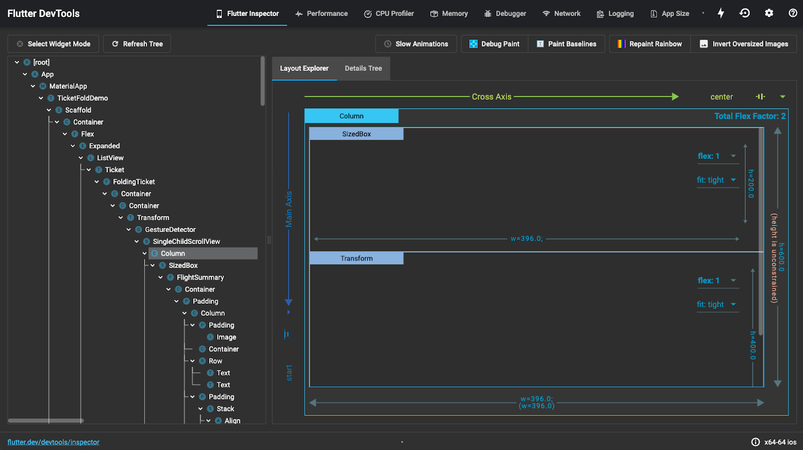 screenshot of Inspector in Flutter for debugging