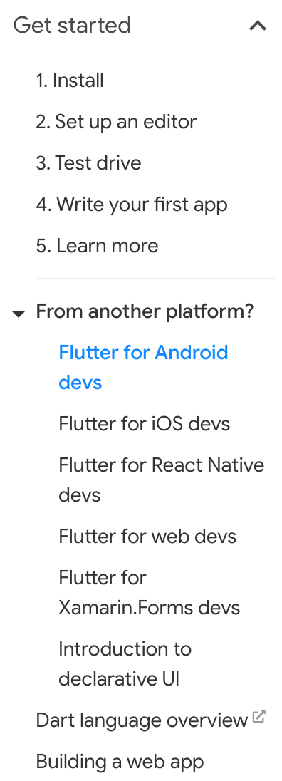getting started excerpt from Flutter page