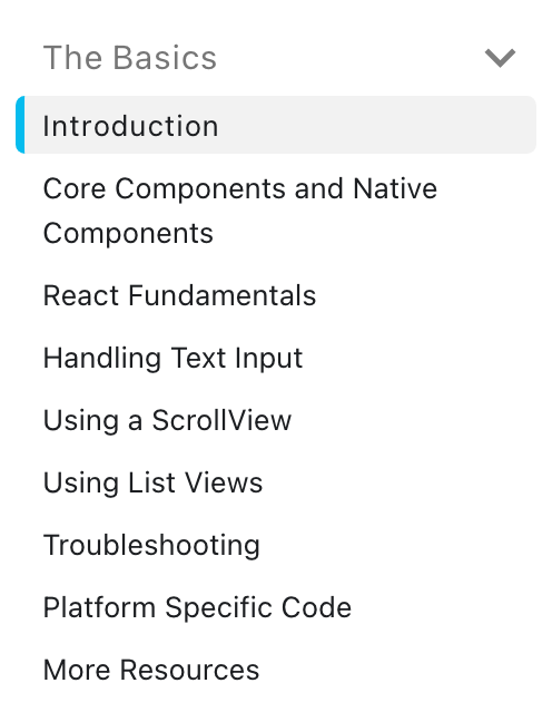 getting started section from React Native official page
