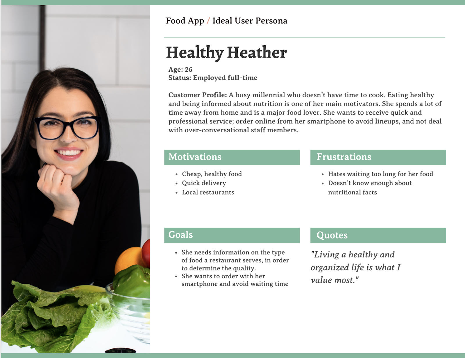 Example of a user persona for a food mobile app