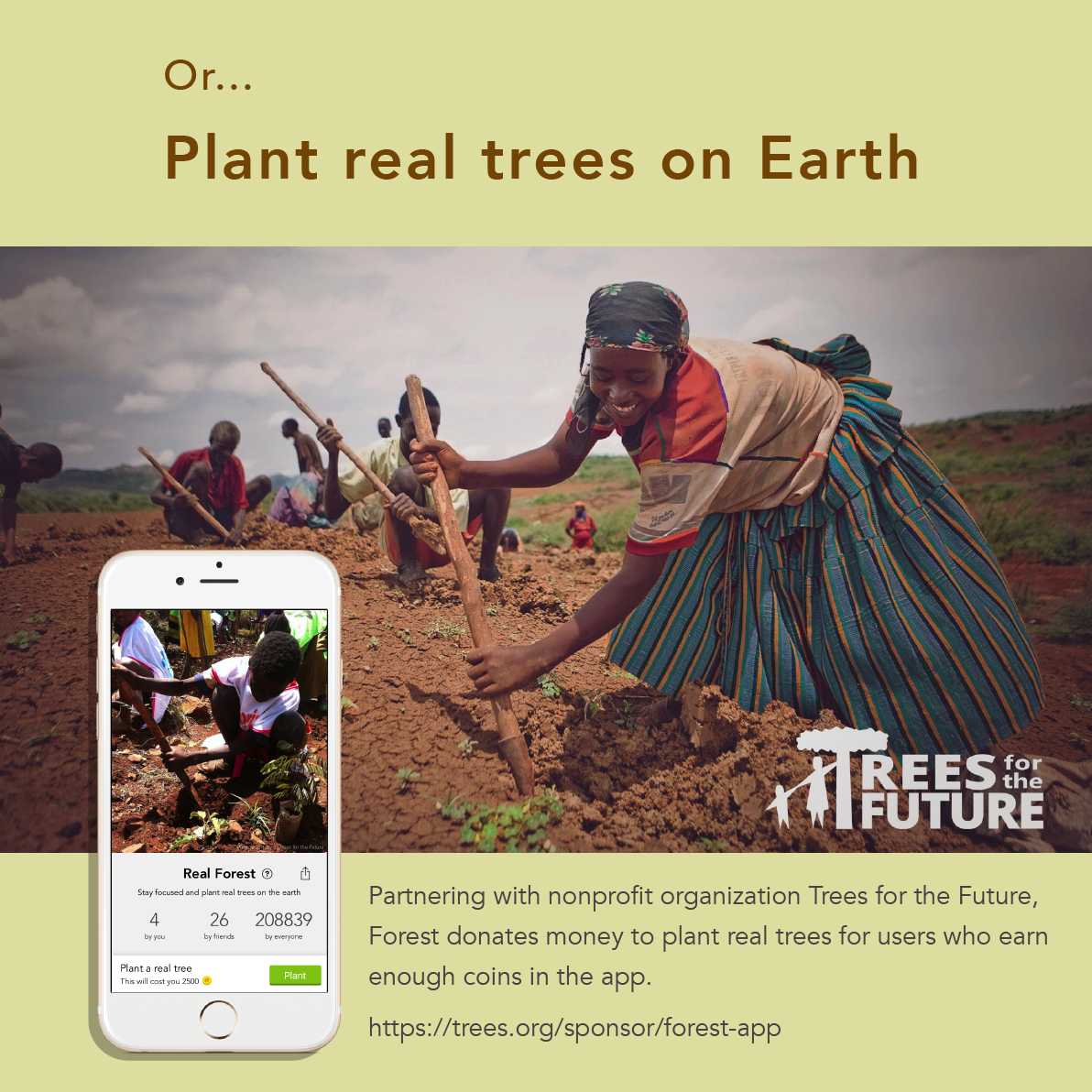 Forest paid app example woman in the field planting a tree