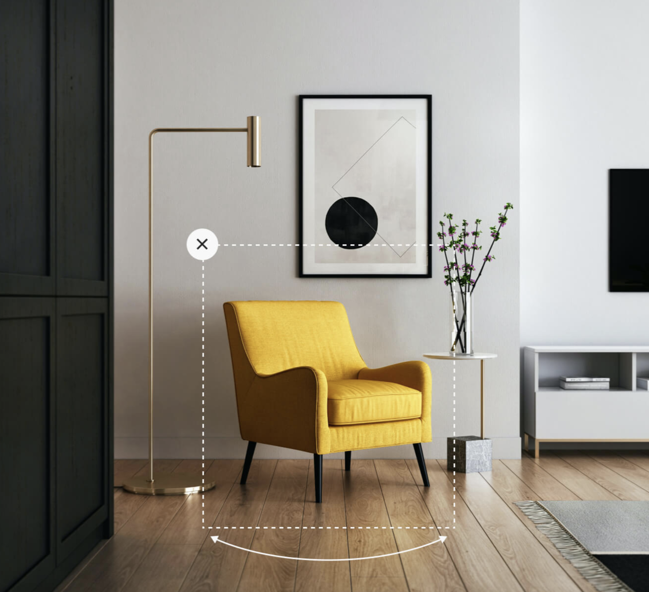 yellow chair in bright living room