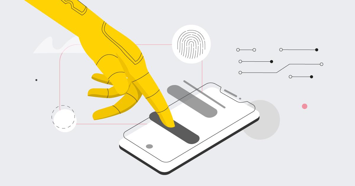hand on a mobie device