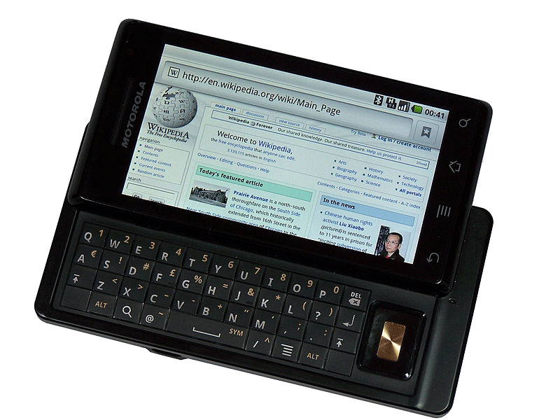 old motorola phone with a physical keyboard