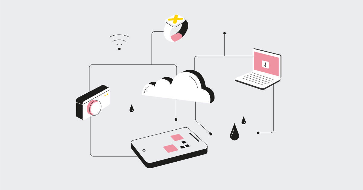various icons with sensors working in the cloud