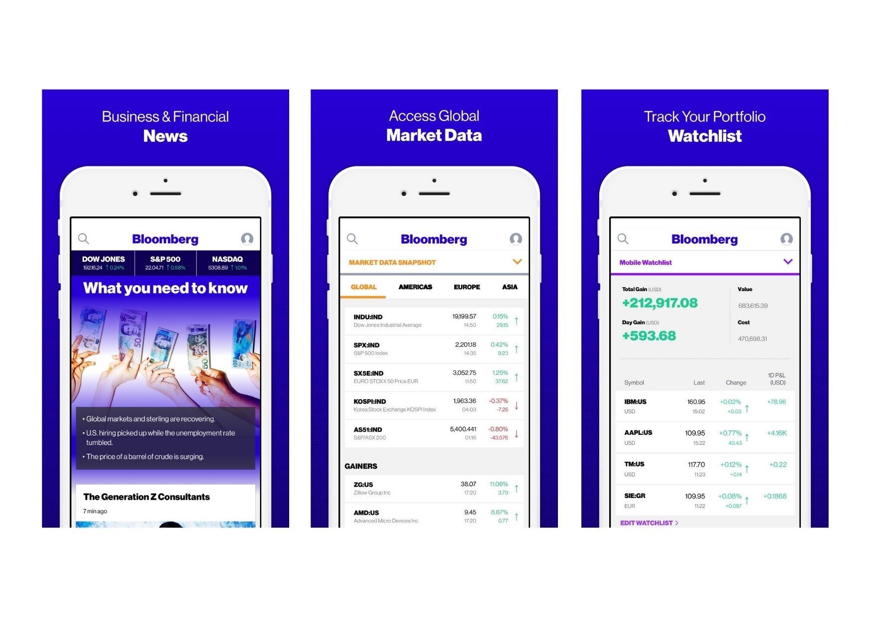 bloomberg mobile app screens