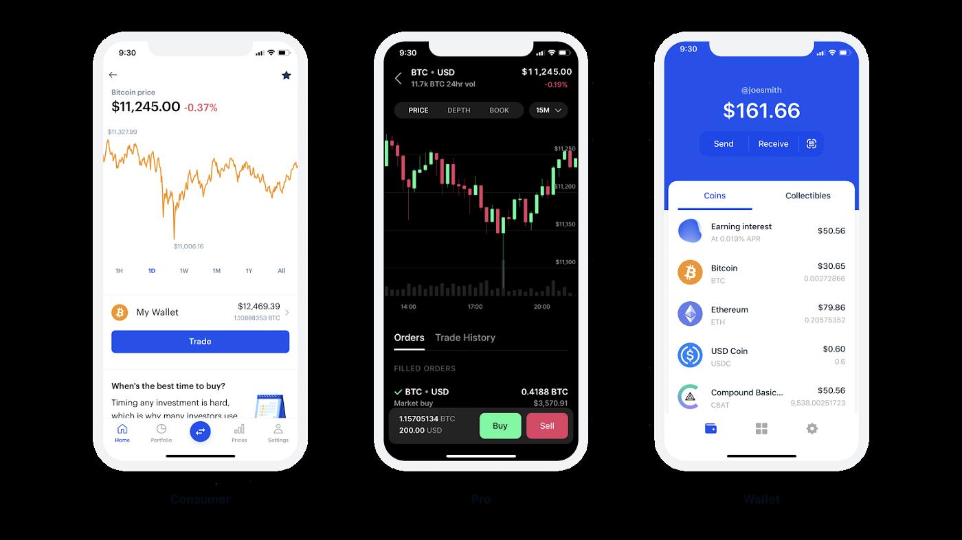 coinbase app screen built in React Native