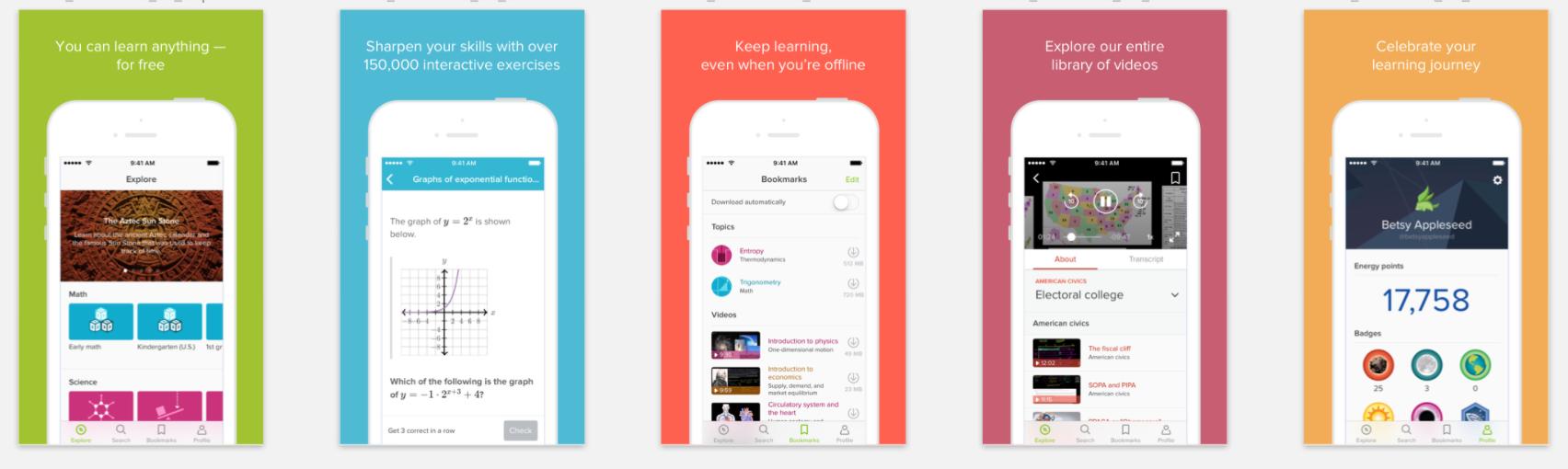khan academy mobile app screens