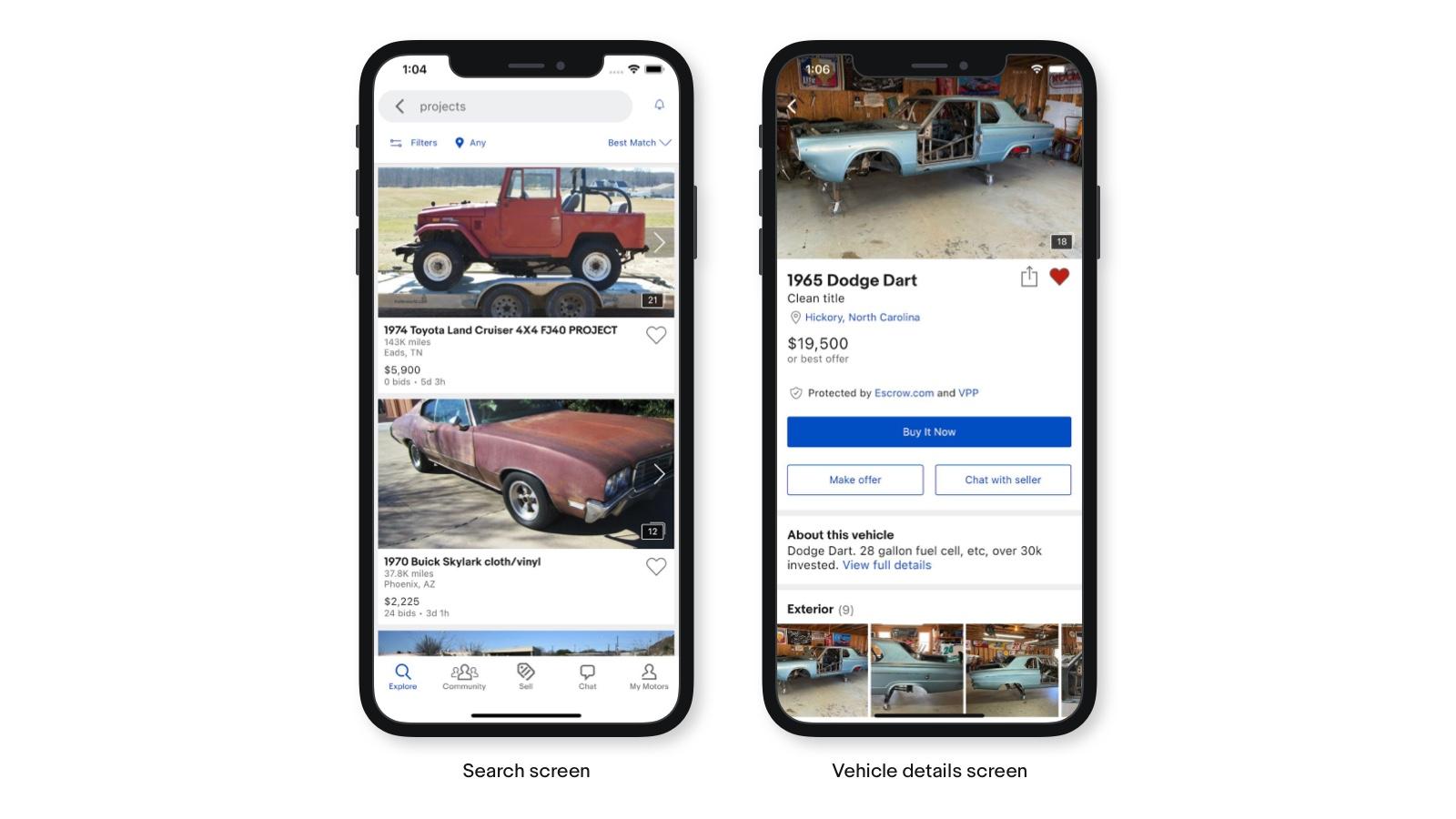 eBay motors app built with flutter
