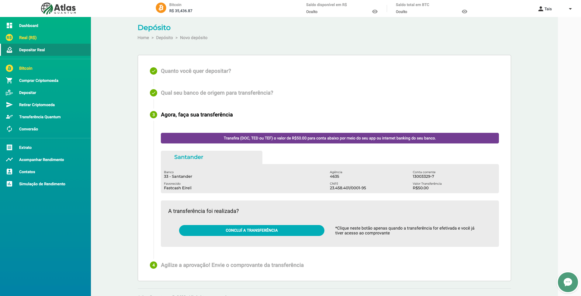 Tutorial: Como Comprar Bitcoin no Atlas Quantum