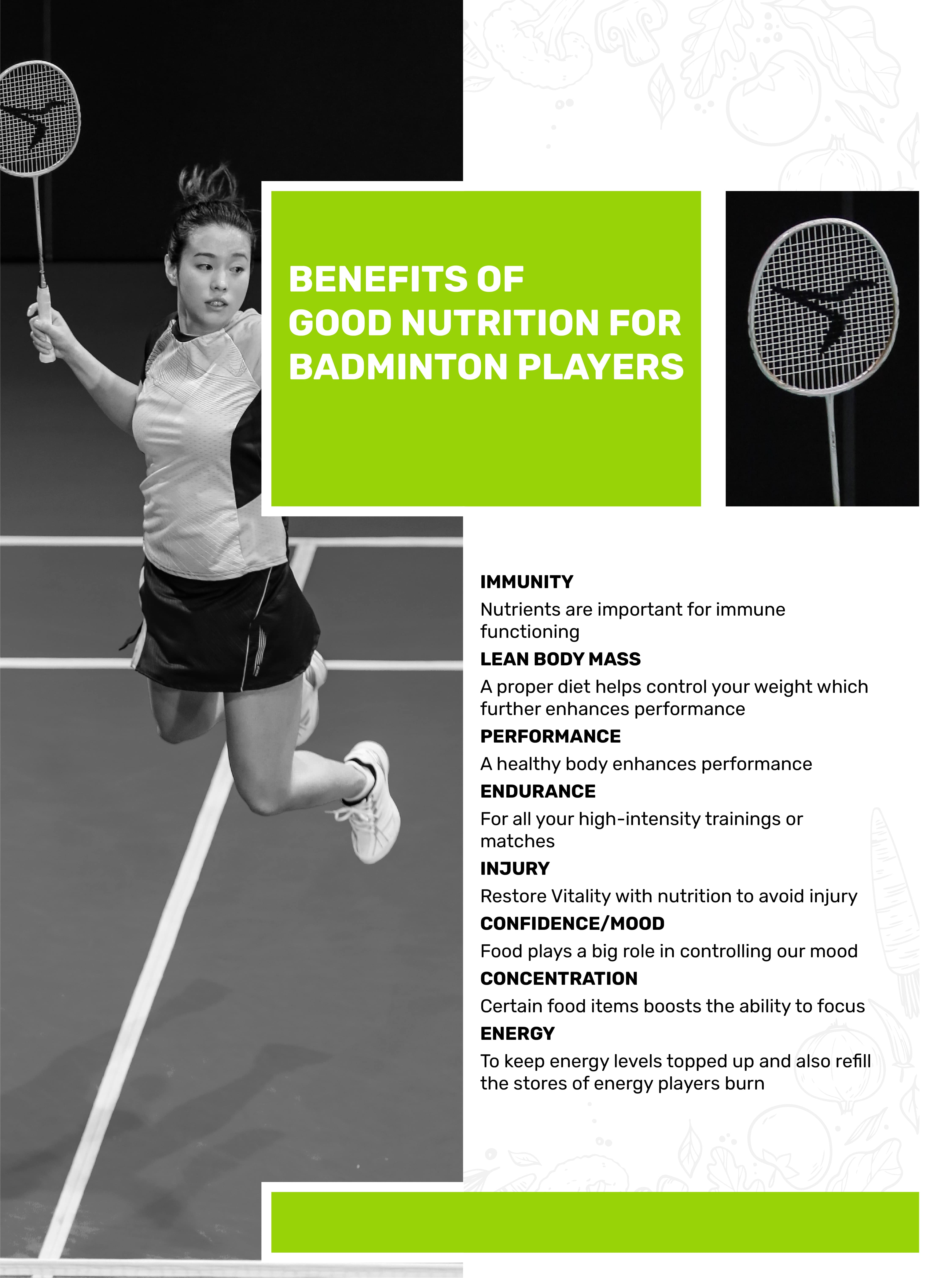 Benefits of Good Nutrition for Badminton Players