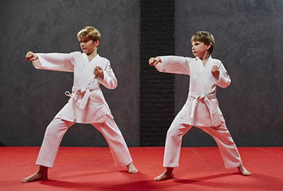 Kids practicing karate