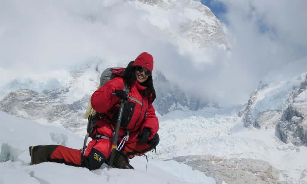 A girl on Mount Everest