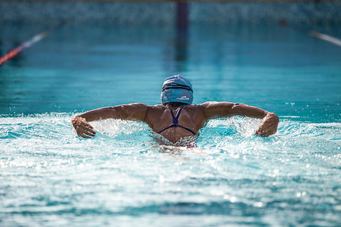 Butterfly strokes in swimming
