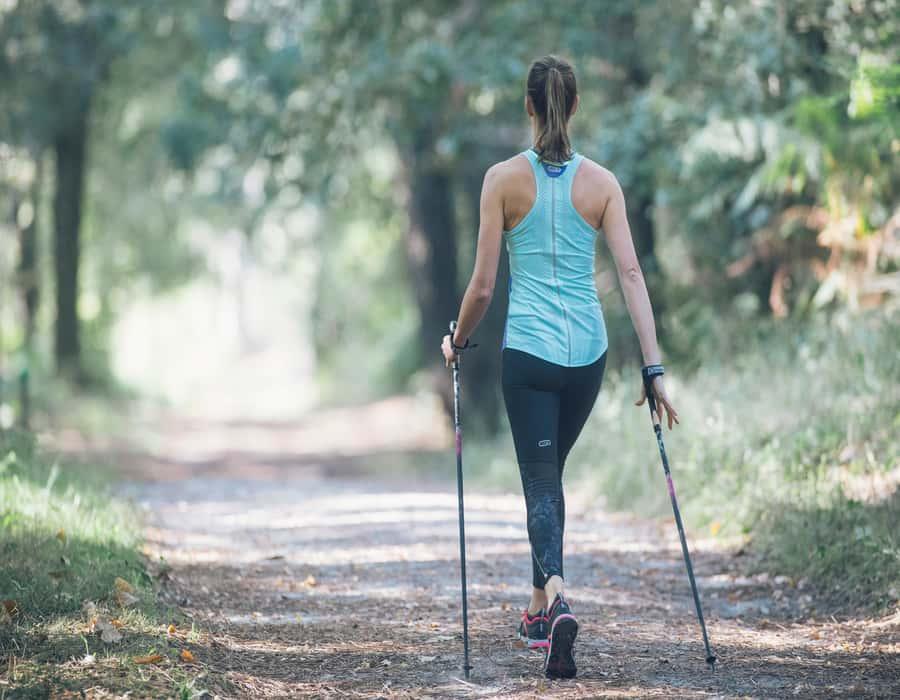 Girl Nordic walking