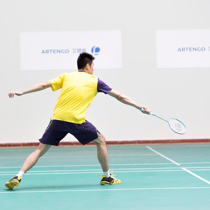 sideward angle badminton shoes