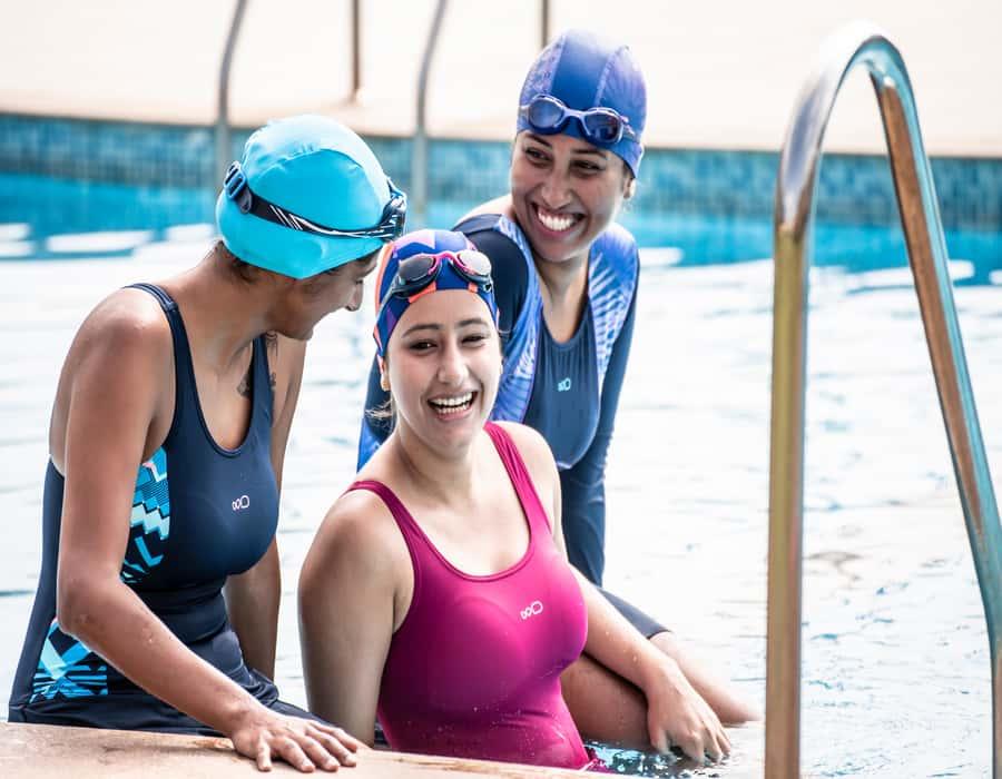 girls enjoying the swimming activity