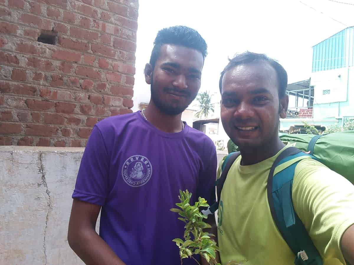 Suresh Daniel with his friend