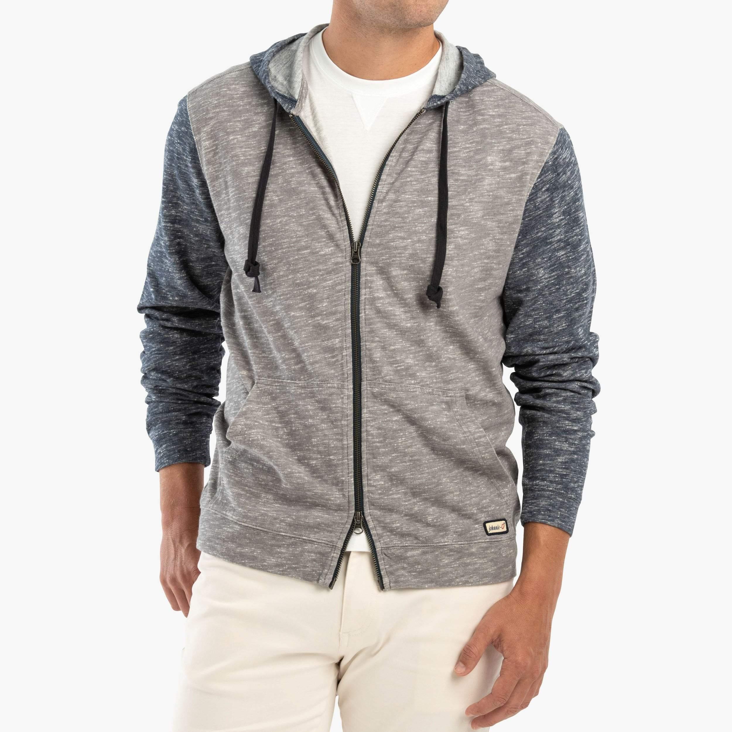 Theo Double Zip Hoodie Sweatshirt (Pacific)