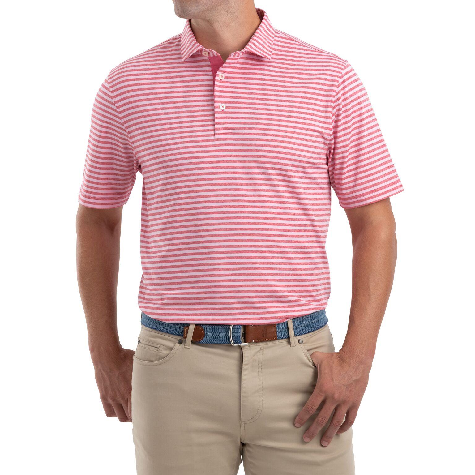 Smith Striped  PREP-FORMANCE Jersey Polo (Strawberry)