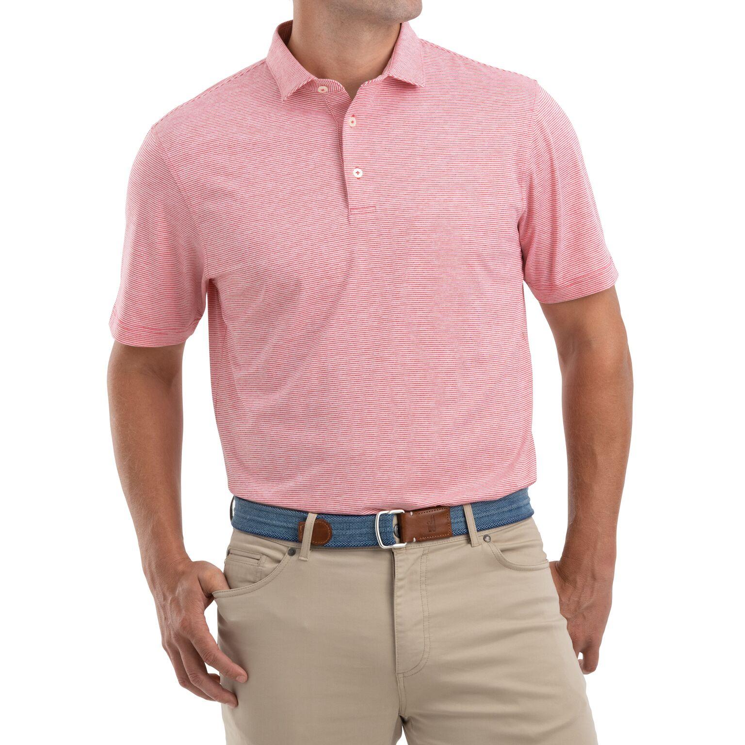 Lyndon Prep-Formance Striped Jersey Polo (Strawberry)