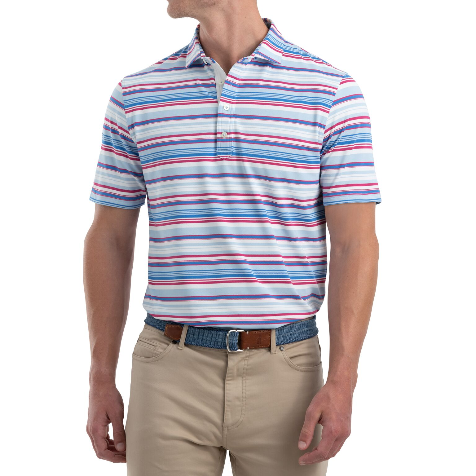 Seger Striped PREP-FORMANCE Pique Polo (Gulf Blue)