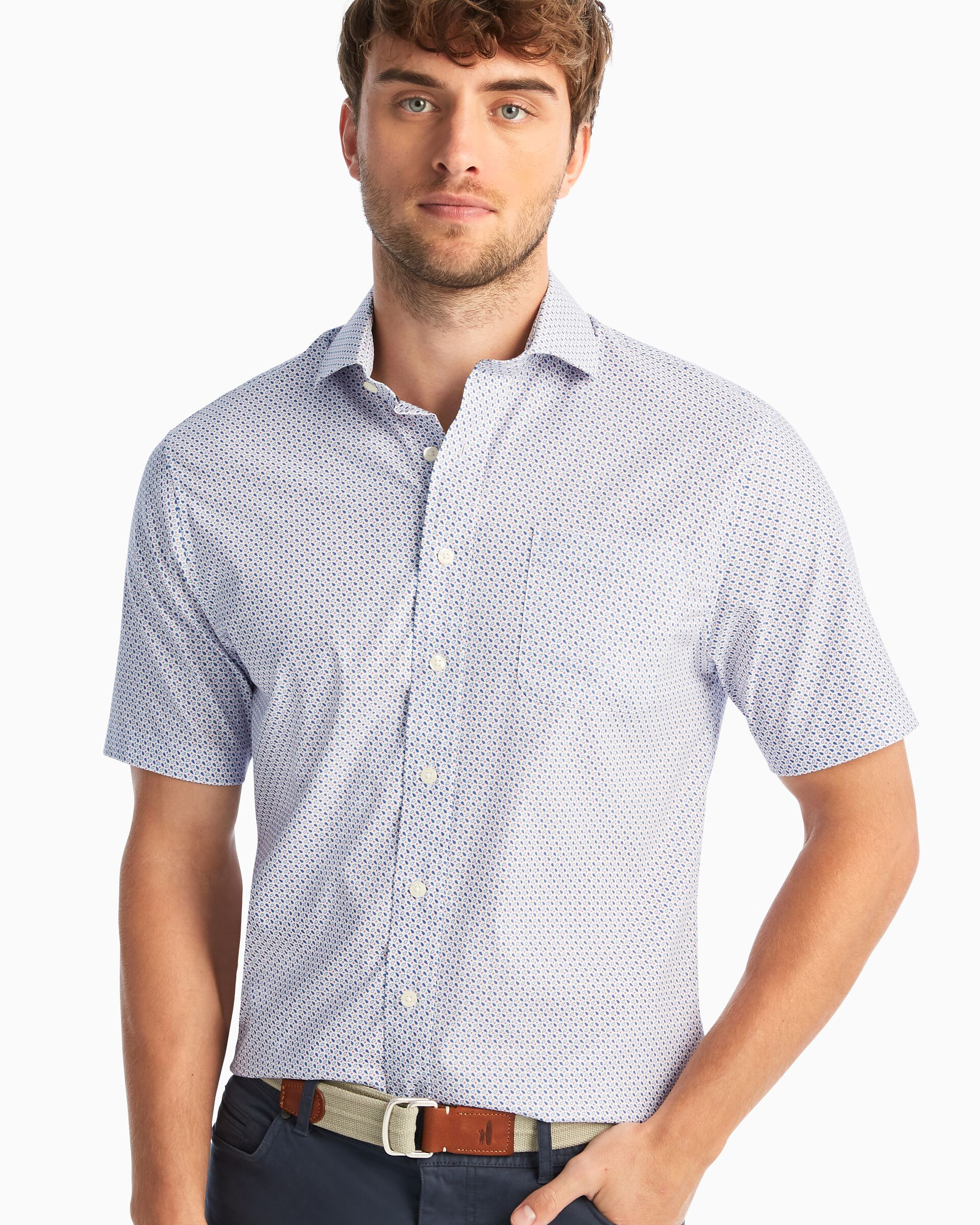 Hines Printed Prep-Formance Short Sleeve Button Down Shirt (White)
