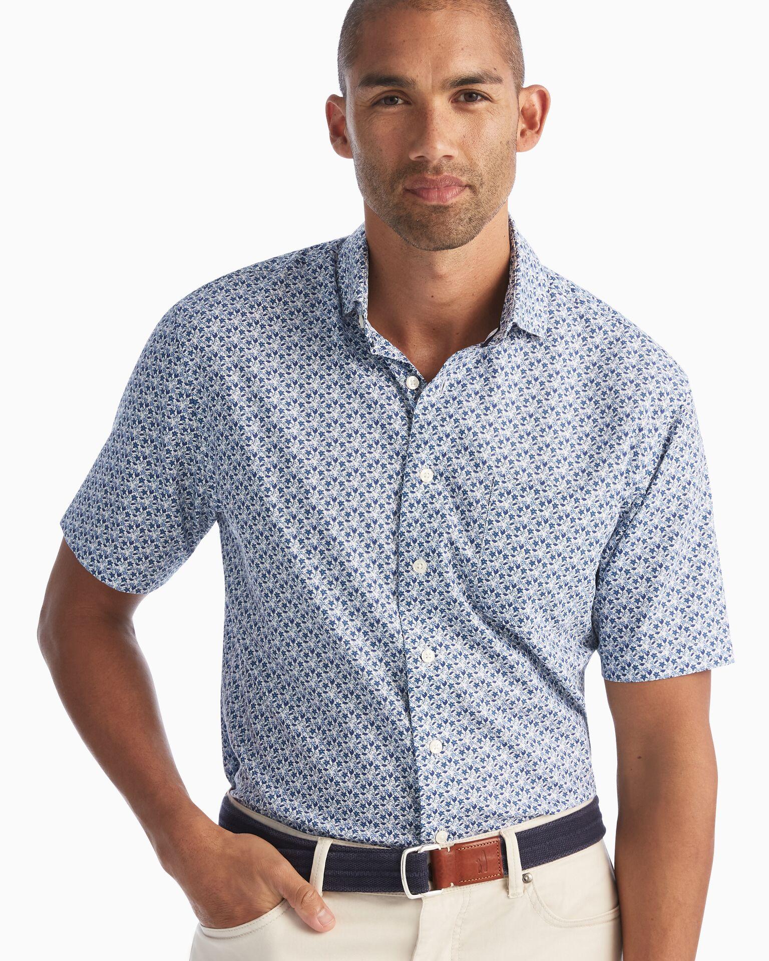 Marko Printed Prep-Formance Short Sleeve Button Down Shirt (Marlin)
