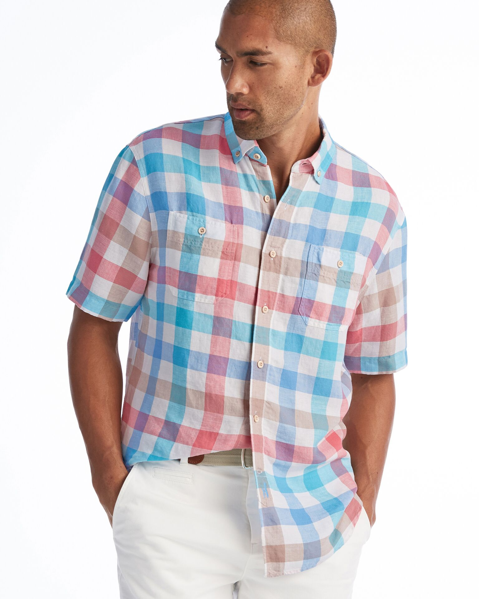 Presley Hangin' Out Button Down Short Sleeve Shirt (White)