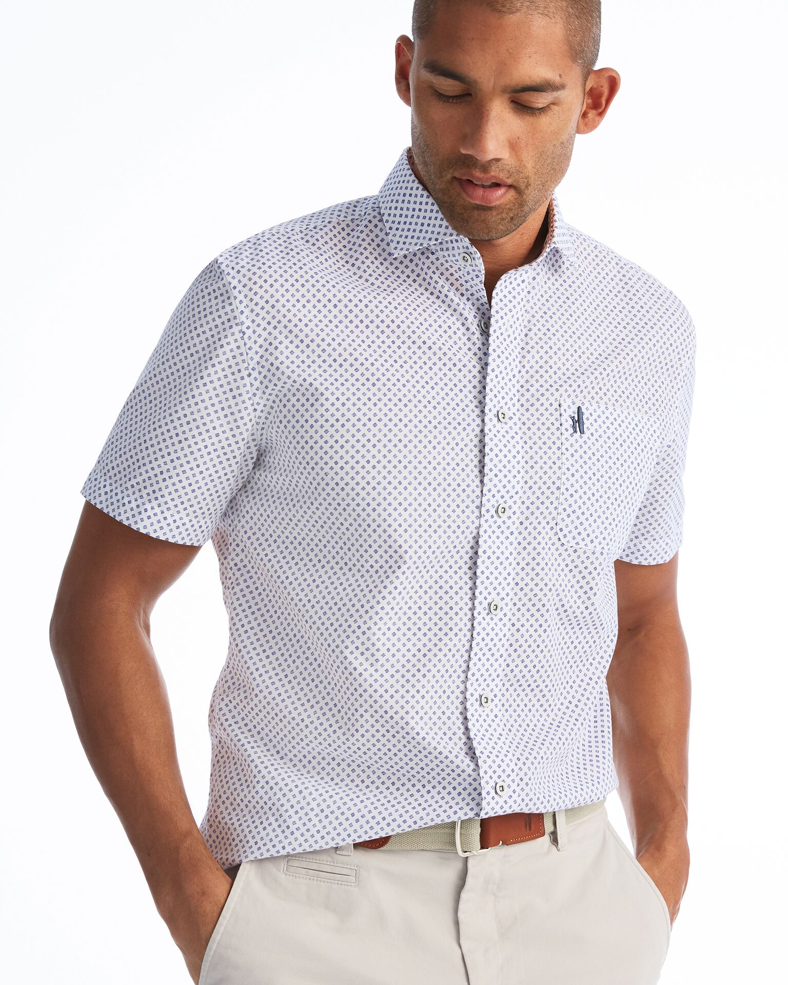 Price Printed Hangin' Out Button Down Short Sleeve Shirt (Deep Water)