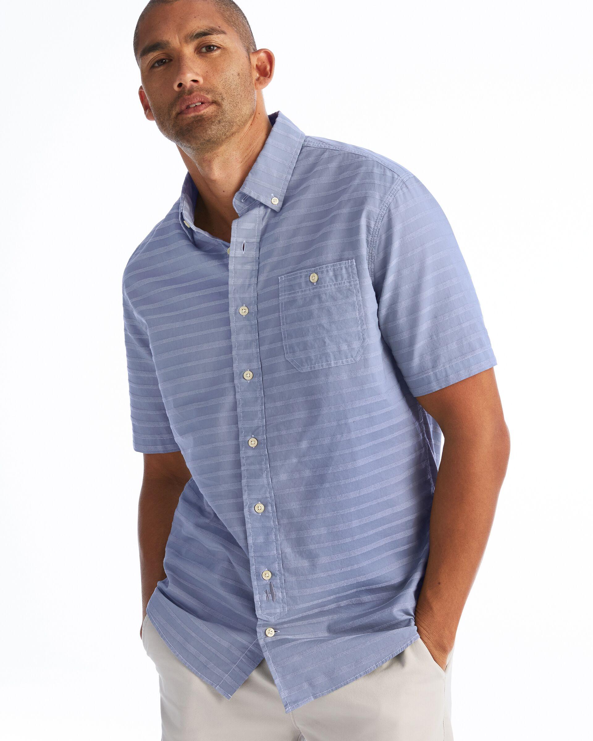 Raleigh Hangin' Out Spread Collar Short Sleeve Shirt (Marlin)