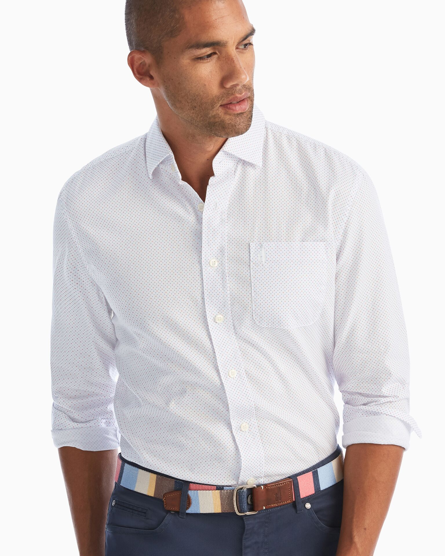 Schubert Printed Hangin' Out Button Down Shirt (White)