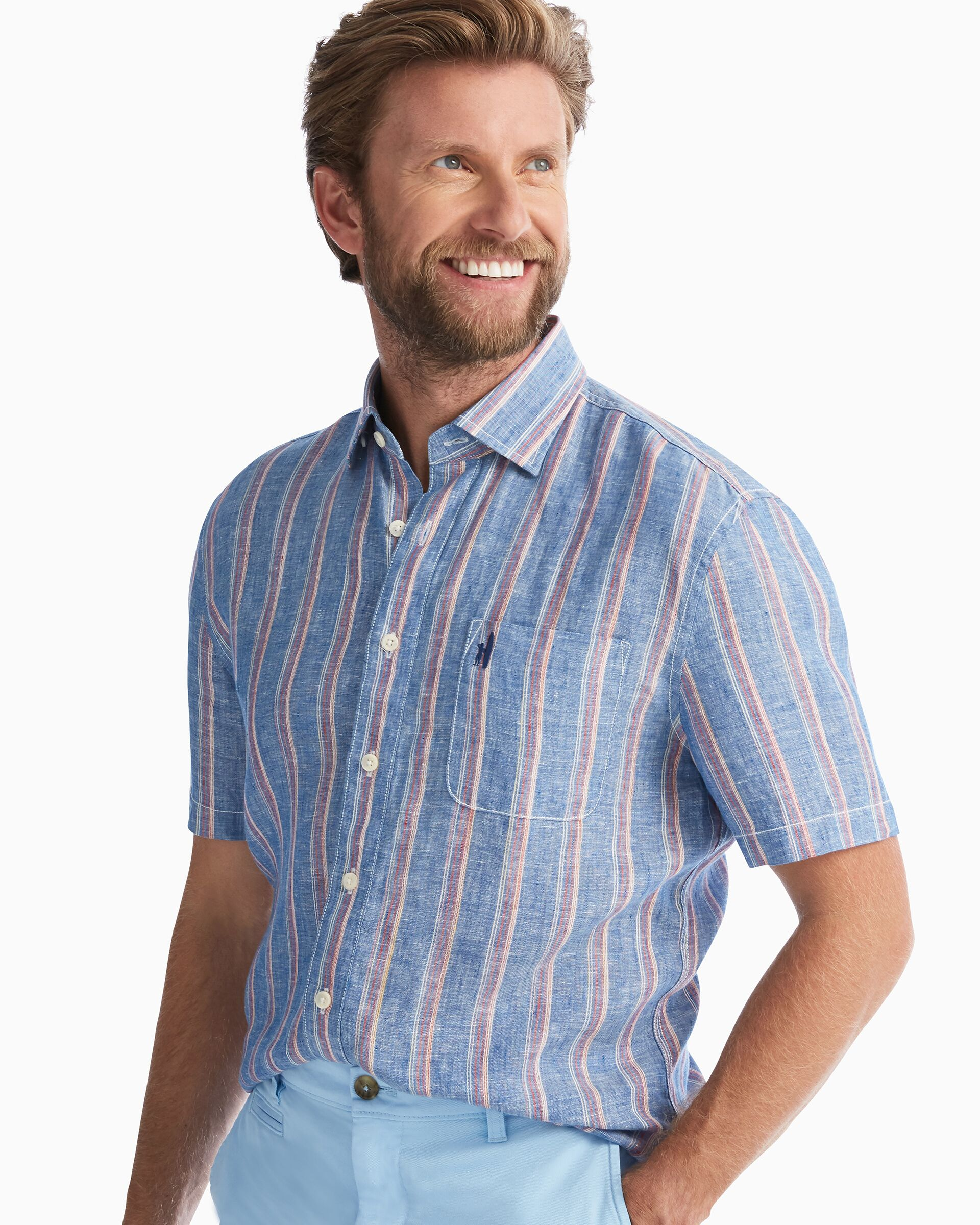 Solana Hangin' Out Button Down Short Sleeve Shirt (Chambray)