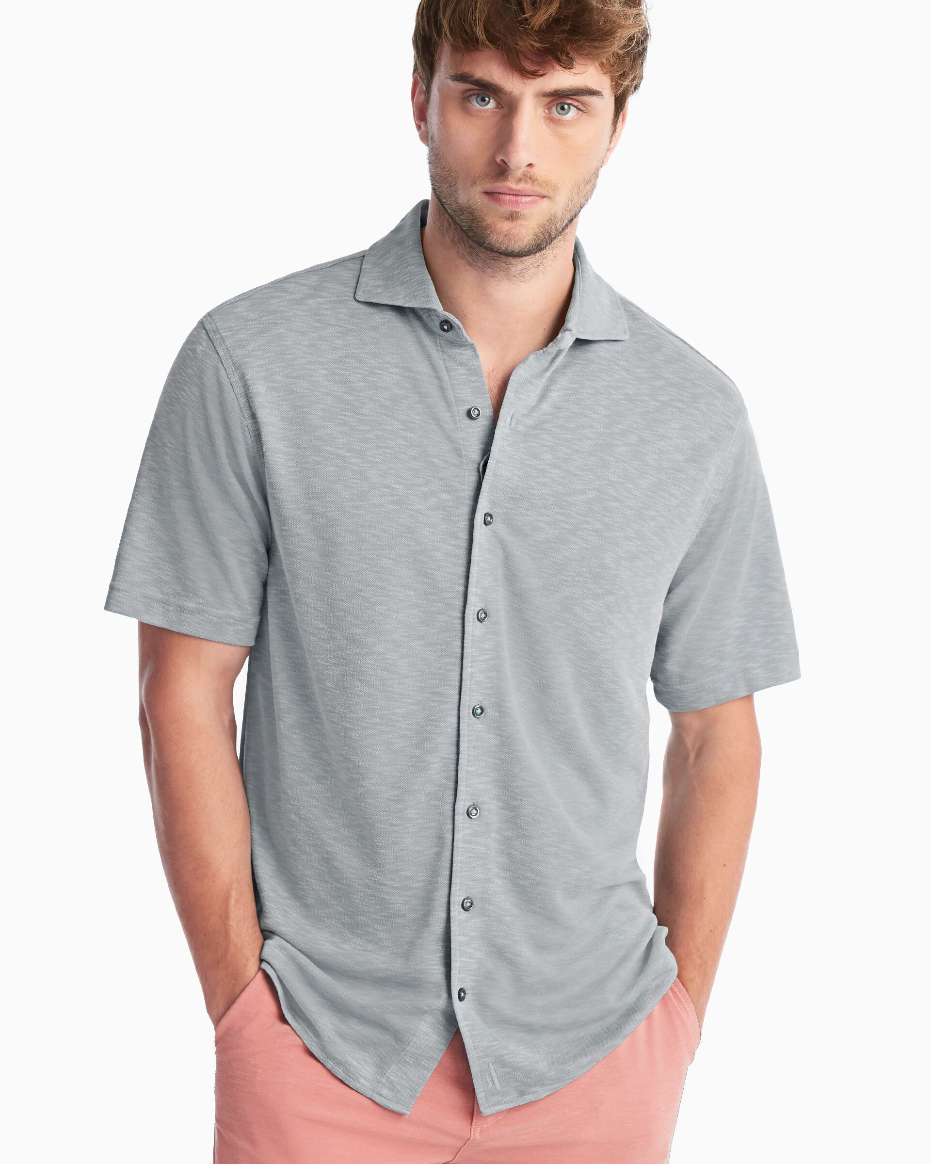Stokes Prep-Formance Short Sleeve Button Down Shirt (Cloudbreak)