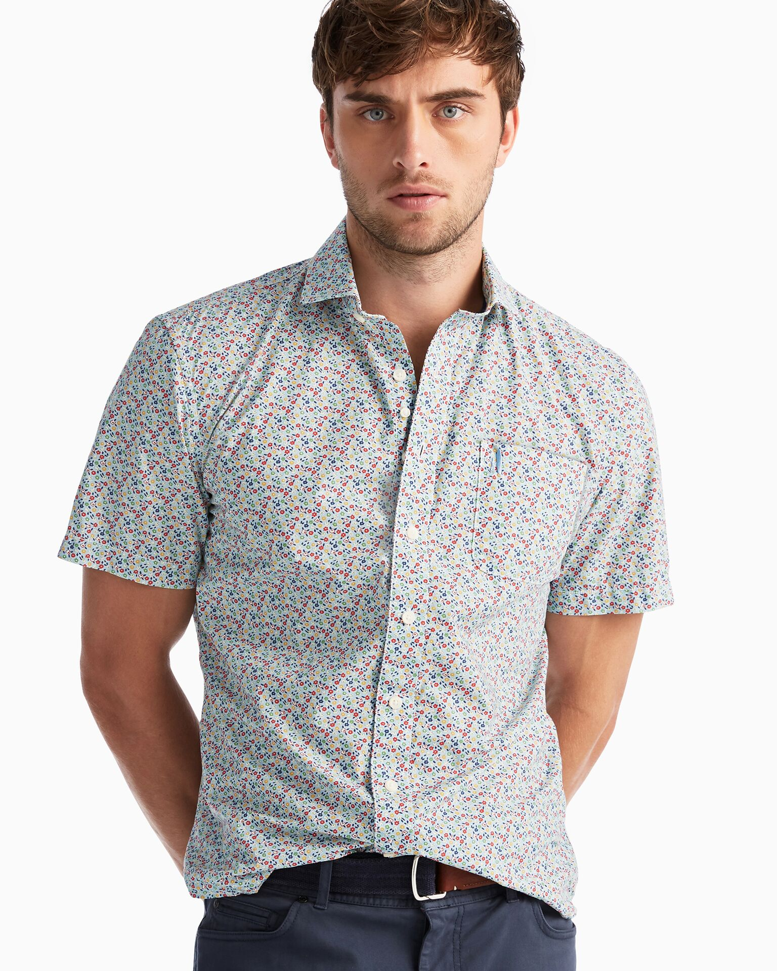 Vincent Hangin' Out Button Down Short Sleeve Shirt (Gulf Blue)