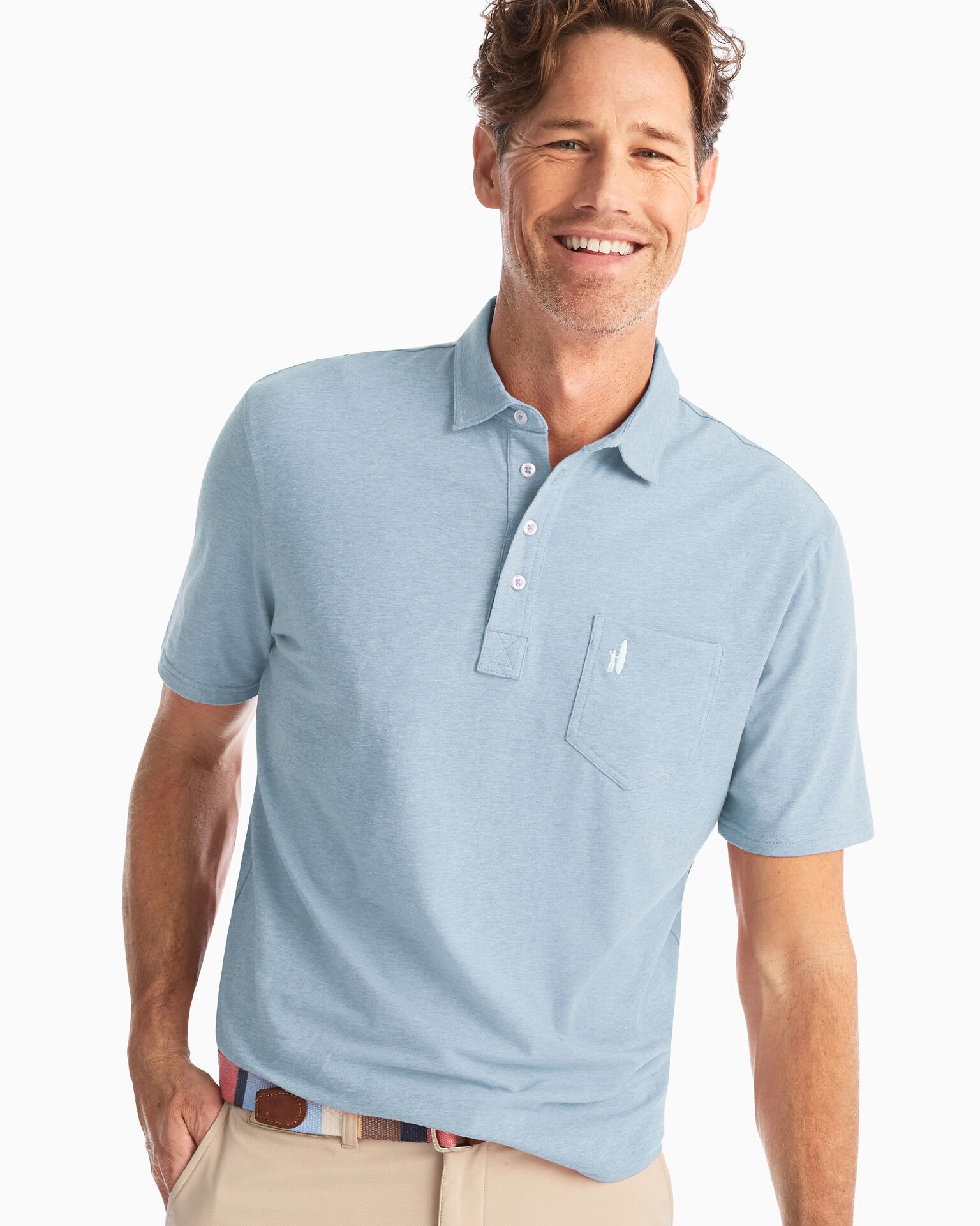 Heathered Original Polo (Gulf Blue)